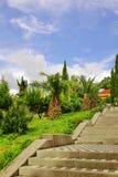 Beton deckte aufwärts Treppenhaus im dekorativen tropischen Garten mit Ziegeln S Stockfotografie