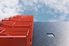 Beton die de rode lage hoek van de brandtrapladder bouwen royalty-vrije illustratie