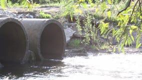 Beton drymby dla wastewater Strzelaj?cy w backlight Słońce błyszczy przez gałąź wierzba zbiory wideo
