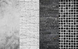 Beton, Ziegelsteine, Steinmaterielle Wahl-Auswahl der schiefer-und Mosaik-Fliesen-Beschaffenheit, der Wand und des Bodens stockbild