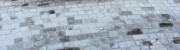 Betonblock-Pflasterung der Gartenbahn Stockfoto