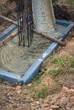 Betong för förstärkning för stålstång Arkivfoto