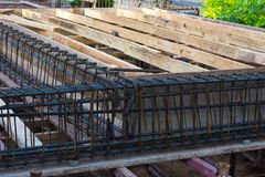 Betong för förstärkning för stålstång Arkivbild