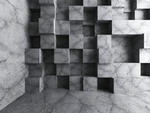 Betong skära i tärningar bakgrund för kvarterväggarkitektur Tomt mörker r Arkivfoto
