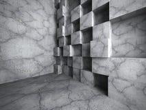Betong skära i tärningar kaotisk väggkonstruktion Tom interi för mörkt rum Royaltyfri Foto
