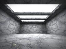 Betongväggar tömmer mörkt rum med takljus royaltyfri illustrationer