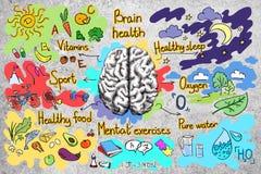 Betonmauer mit gesunder Gehirnskizze Stockbilder