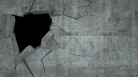 Betonmauer mit Zerstörung, 3 d übertragen Lizenzfreies Stockbild