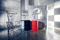 Betonmauerinnendekor, rauer Metallstuhl und Fass stockfoto