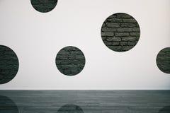 Betonowa ściana, czarni cegła okręgi ilustracja wektor