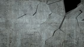 Betonowa ściana z zniszczeniem, 3 d odpłaca się Obraz Stock