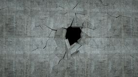 Betonowa ściana z zniszczeniem, 3 d odpłaca się Zdjęcia Royalty Free