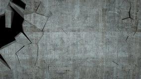Betonowa ściana z zniszczeniem, 3 d odpłaca się Obrazy Royalty Free