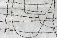 Betonowa ściana z drutem kolczastym Zdjęcia Royalty Free