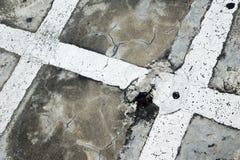 Betonowa podłoga z bielu krzyża linią Obraz Stock