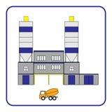 Betonowa produkci rośliny ikona z ciężarówką w ramie ilustracji