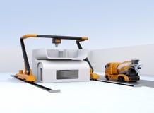 Betonowego melanżeru ciężarówka w stronie przemysłowa 3D drukarka który drukowy dom ilustracji