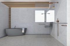 Betonowej ściany łazienki wnętrze, szara balia ilustracji