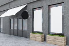 Betonowej ściany nowożytna restauracja z plakatową stroną ilustracji