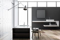 Betonowy i szary loft łazienki wnętrze royalty ilustracja