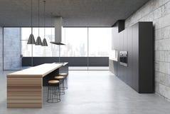 Betonowy kuchenny wnętrze, czarni gabinety, bar ilustracja wektor
