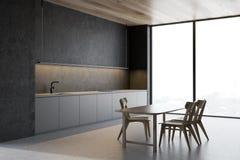 Betonowy kuchnia kąt, szarość kontuary i stół, royalty ilustracja