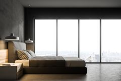 Betonowy loft sypialni wnętrze, boczny widok ilustracji