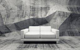 Betonowy pokój z białej skóry kanapą, 3d Zdjęcia Stock