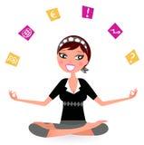 Betonte Geschäftsfrau, die mit vielen Anmerkungen jongliert Lizenzfreie Stockbilder