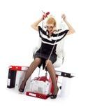 Betonte Geschäftsfrau im Stuhl über weißem #2 Stockfoto