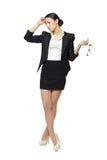 Betonte Geschäftsfrau in in voller Länge lizenzfreies stockfoto