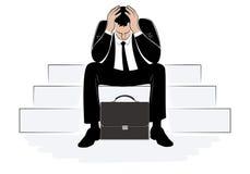 Betonter Geschäftsmann, der seinen Kopf mit den Händen umfasst stock abbildung