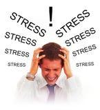 Betonter Geschäftsmann mit Kopfschmerzen stockfoto