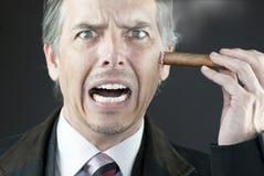 Betonter Geschäftsmann rodet heraus Zigarre auf Gesicht Lizenzfreies Stockfoto