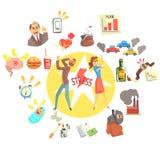 Betonter Mann und Frau umgeben mit den verschiedenen Stressfaktoren extern und auf den Lebensstil bezogen lizenzfreie abbildung