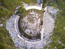 Betonuje po drugie słowo bunkierów Wojennych budynki na skalistym wybrzeżu Obrazy Royalty Free