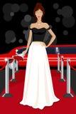 Betoverende Dame op Rood Tapijt Royalty-vrije Stock Afbeelding