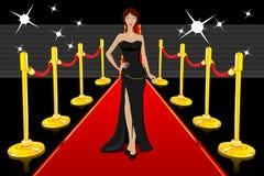 Betoverende Dame op Rood Tapijt Royalty-vrije Stock Foto's