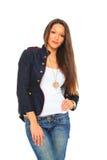 Betoverende jonge sexy vrouw die jeans draagt Stock Fotografie