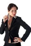 Betoverende jonge vrouw in zwart kostuum Royalty-vrije Stock Afbeelding