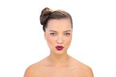 Betoverende vrouw met het rode lippen kussen Stock Afbeeldingen