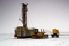 Betpakdala - steppe of southern Kazakhstan. The rig is preparing to to work in the steppe in the winter Stock Photo