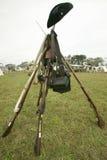 Beträffande-lag av det revolutionära kriglägret visar lägerliv av den kontinentala armén som delen av den 225. årsdagen av si Arkivfoto