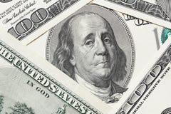 Betrübter Franklin-Schrei auf dem hundert Dollarschein lizenzfreies stockbild
