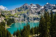 Betrachten durch Bäume Oschinensee See im Bernese Oberland lizenzfreies stockfoto
