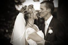 Betrachten einander auf Hochzeit Stockfoto