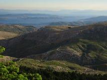Betrachten von salamina isalnd von einer großen Höhe, Berg Parnitha, Griechenland Stockbild