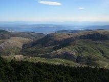 Betrachten von salamina isalnd von einer großen Höhe, Berg Parnitha, Griechenland Stockfotos
