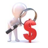 betrachtet kleiner Mann 3d ein US-Dollar Symbol stock abbildung