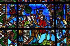 The betrayal of Jesus by Judas. A stained glass photo of the betrayal of Jesus by Judas Stock Photography